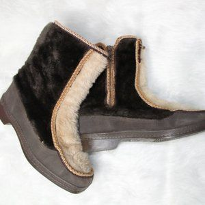 Vintage Snowland Faux Fur Booties with Rubber Sole
